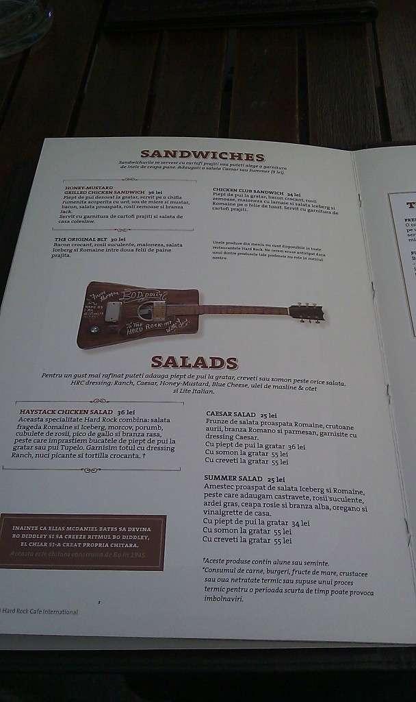 Hard Rock Cafe Meniu Preturi