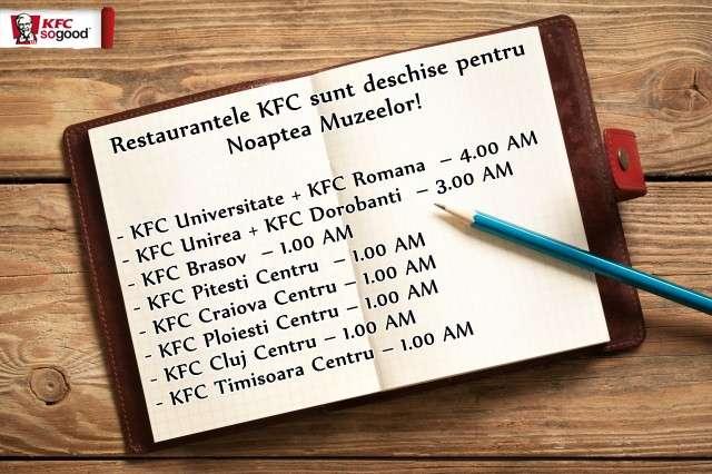 KFC deschis in Noaptea Muzeelor