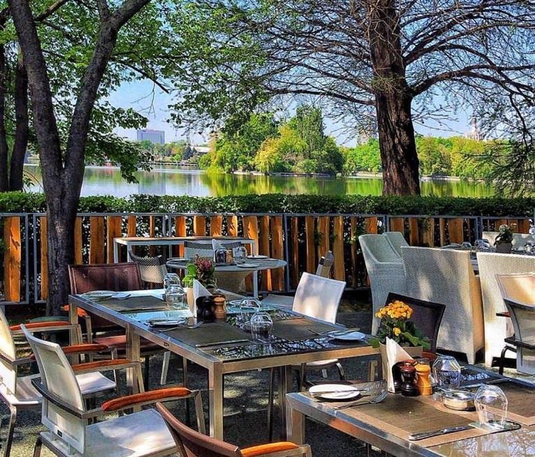 mese la terasa La Brasserie Bistro & Lounge din Herastrau, terasa langa lac, cu gard de lemn si copaci in jur