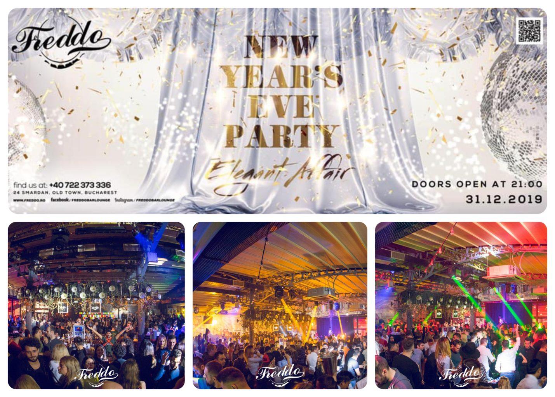 colaj foto pentru oferte de Revelion de la freddo bar cu imaginea afisului si trei imagini cu oameni distrandu-se si dansand