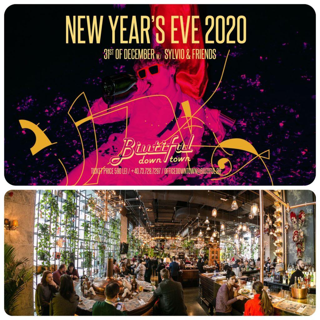 Colaj de poze cu afis de revelion la Biutiful Downtown si imagine din interiorul restaurantului plin de oameni