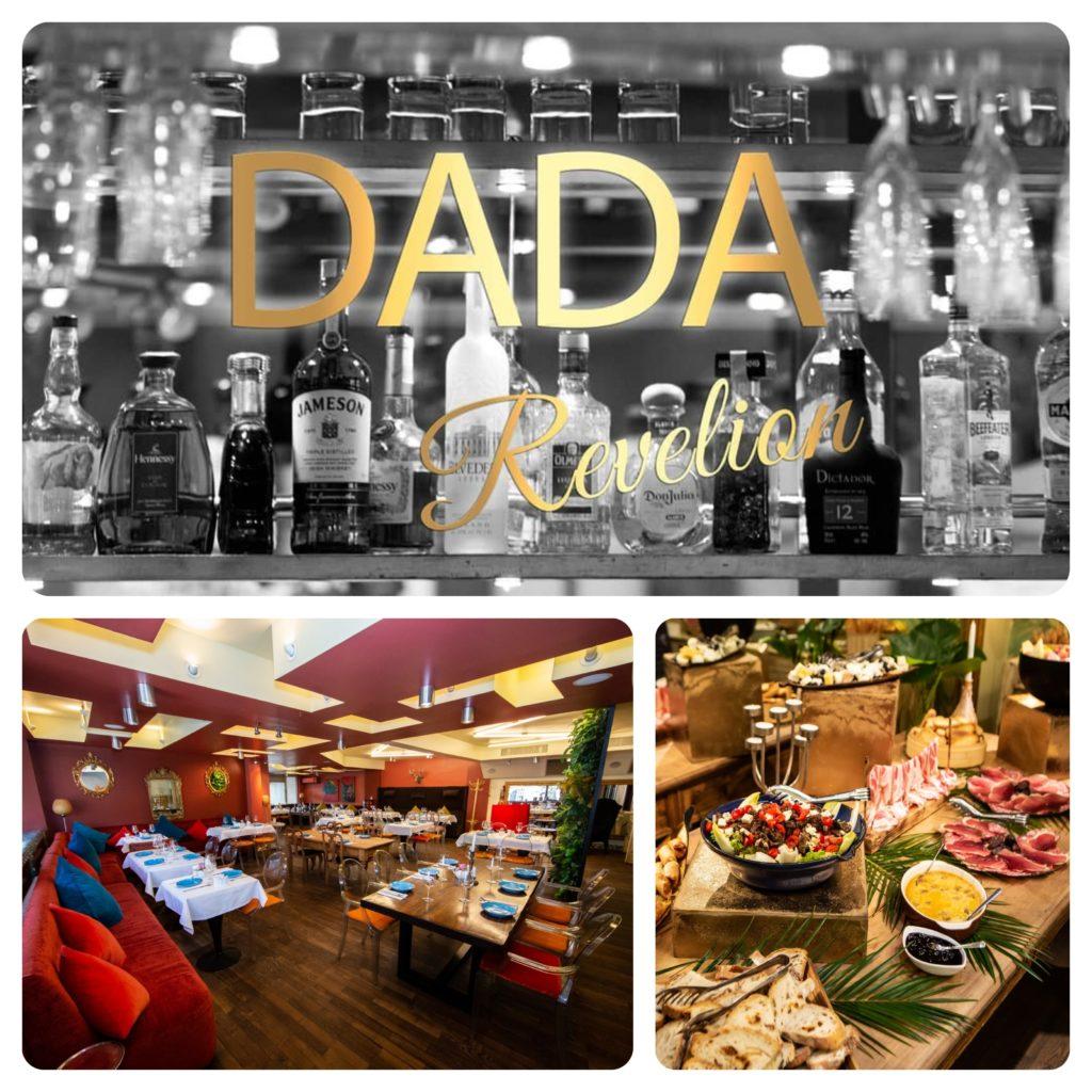 colaj cu afisul de revelion de la restuarantul Dada, privire de ansamblu asupra meselor si o imagine cu masa plina de preparate festive