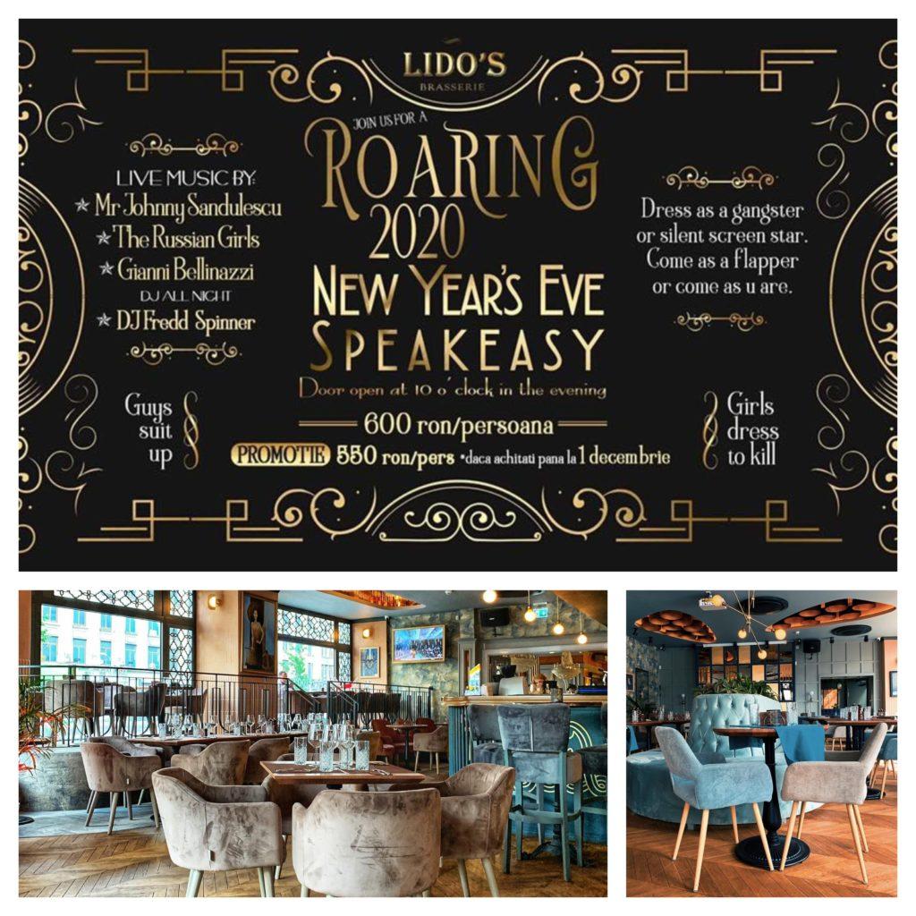 colaj pentru oferte de revelion cu afisul de revelion de la restaurantul lido brasserie si doua imagini in interiorul restaurantului