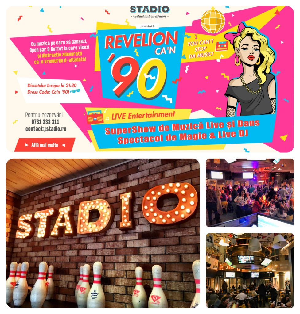colaj foto pentru oferte de revelion de la restaurant stadio, cu afis, lofo cu litere volumetrice si imagini de la petrecerea de revelion 2019