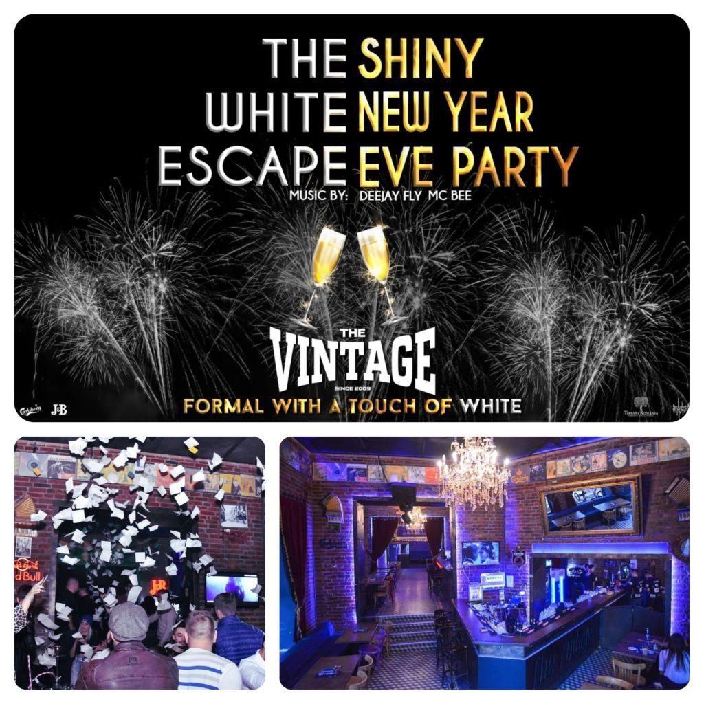colaj cu afisul de revelion de la vintage pub, interiorul localului si imagine cu oameni distrandu-se la o petrecere
