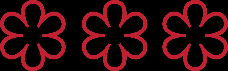 3 stele michelin roșii, pe fundal transparent