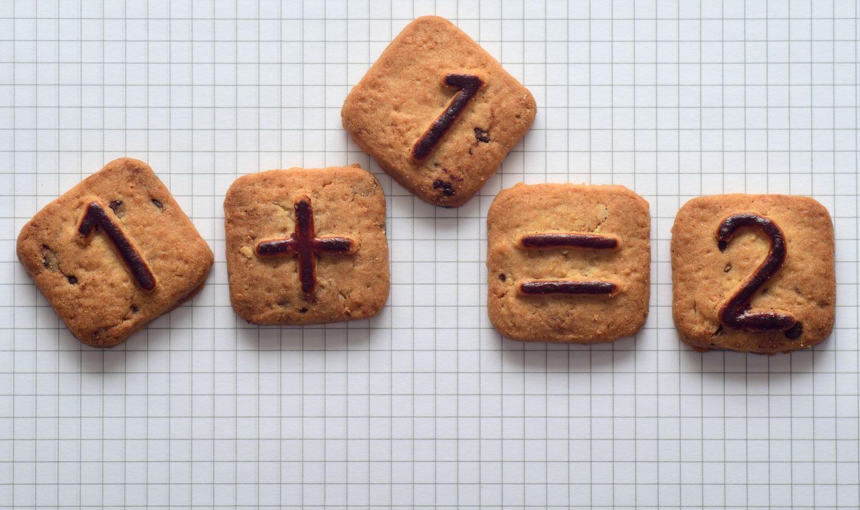 bisacuiti cu cifre si semnele adunarii, pe foaie de matematică, imagine reprezentativă pentru cum se calculează costul primar