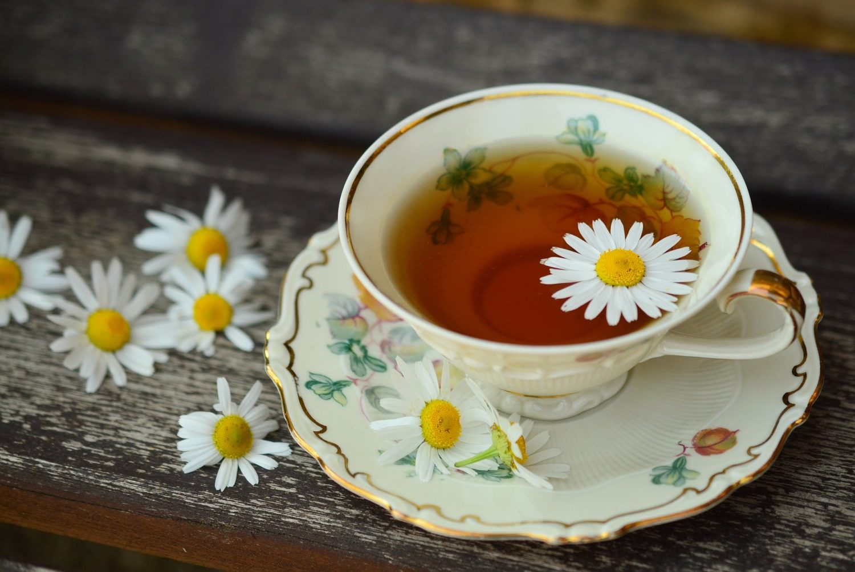 cana si farfurie din portelan alb, cu motive florale, plina cu ceai de musetel, cu flori de musetel in jurul farfuriei