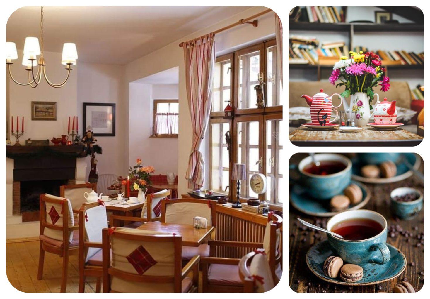 colaj de poze din ceainăria green tea, cu o incapere cu ferestre si perdele si alte douaa fotografii cu cesti de ceai si aranjamanet floral si prăjituri, una cin ceaăinării frumoase din București