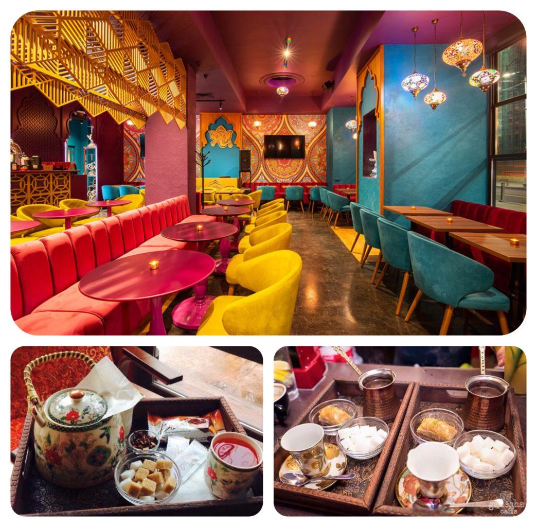 colaj de 3 fotografii, una cu o incapere foarte colorata, cu mobilier rosu, galben si albastru capitonat, si alte doua fotografii cu ceainice si cesti de ceai