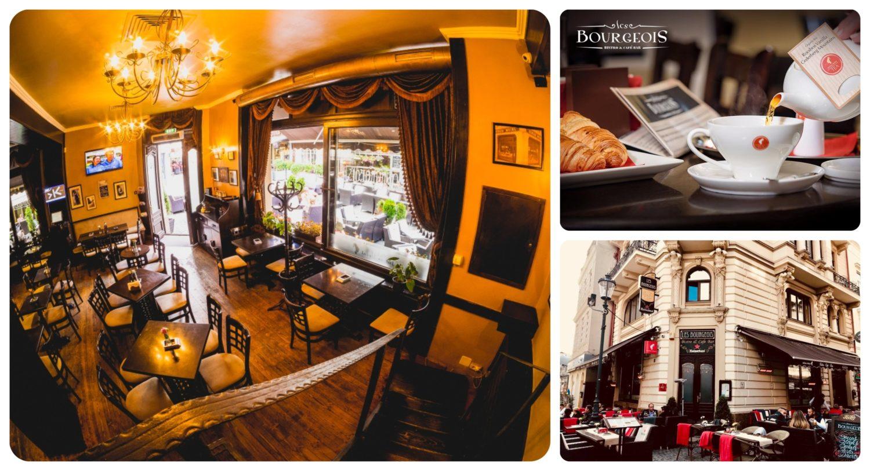 colaj de 3 poze din localul Les Burgeois, una cu privire de ansamblu in care se vad mese patrate, din lemn inchis la culoare, ferestre mari cu draperii de catifea, alta cu un ceainic si o ceasca de cafea alba, si alta cu exteriorul restaurantului si terasa. Una din ceainării frumoase din București