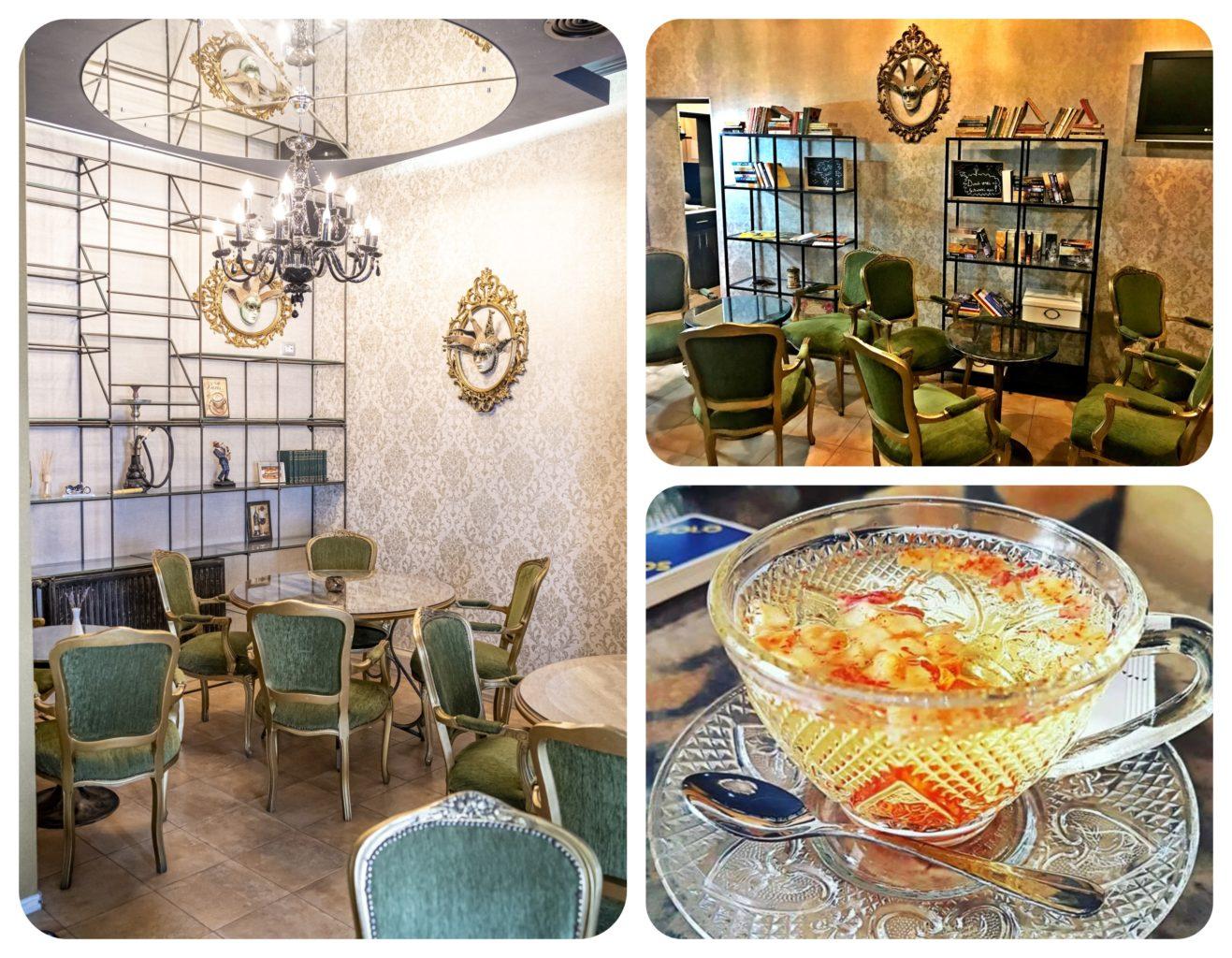 colaj de fotografii din localul Madame B, cu incaperi din restaurant, una cu mobilier elegant, turcoaz, tapet, rafturi metalice si un candelabru, alta cu o ceasca de ceai din plante. Este una din ceainării frumoase din București