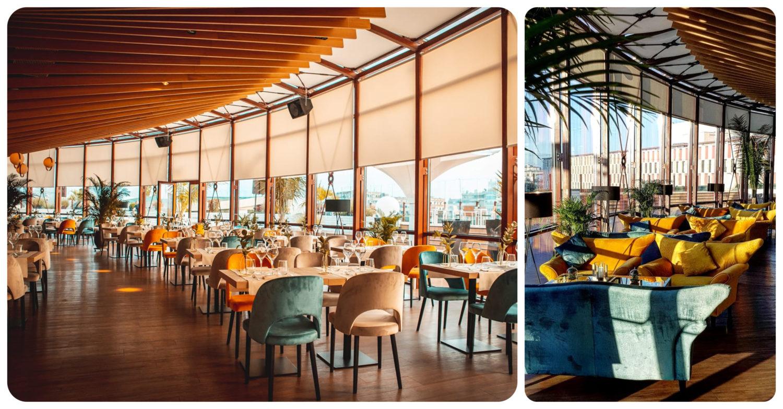 colaj de fotografii din restaurant Aria TNB, fotografii de ansamblu cu randurile de mese cu saune albastre, galbene si crem, ghivece de plante decorative, un perete format din ferestrele mari, cu storuri si tavan cu lemn si o alt poza cu canapele mari, confortabile, galbene si albastre, intre care sunt asezate mese. Unul din Cele mai instagramabile restaurante