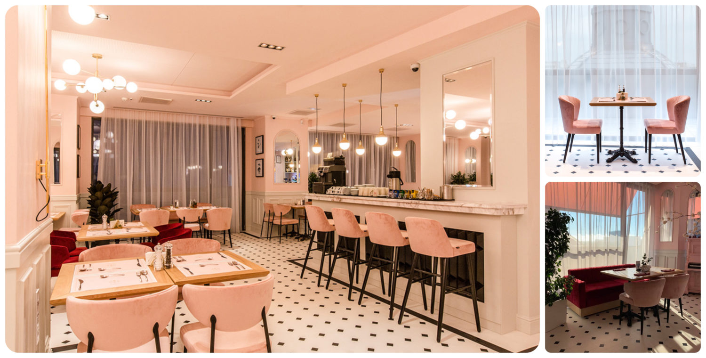 colaj de fotografii din restaurant Cișmigiu bistro, una cu privire de ansamblu in care se vad scaune de bar si mese de 4 persoane, cu ferestre in fundal, alta cu 2 scaune si o masa in fata unei ferestre mari, cu perdele si alta poza cu o canapea rosie, o masa si doua scaune crem, unul din cele mai instagramabile restaurante din București
