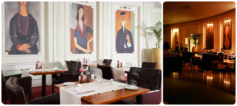 colaj de 2 fotografii din restaurant Modigliani, una cu perete alb cu 3 tablouri copie dupa lucrarile pictorului Modigliani, mese si scaune de lemn maro si stergare albe, a doua cu restaurantul in lumina difuza si oameni luand masa