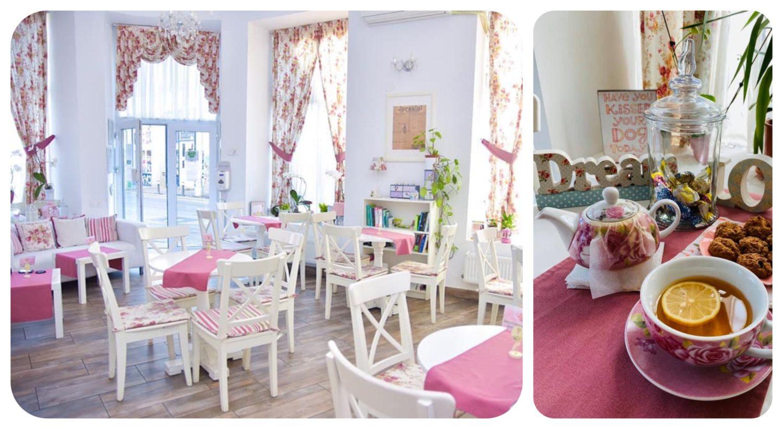 colaj de imagini din ceainaria SanThe Fitoceainărie, un o incapere alba, cu mese si scaune albe, de lemn si accente decorative roz, plus o ceascaa de ceai si un ceainic alb cu roz, in poza alaturata