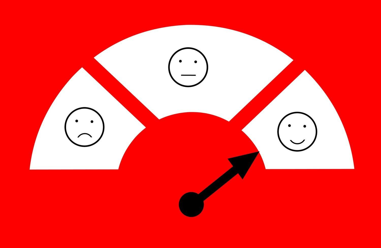 indicator pentru masurarea gradului de multumire al clientilor, cu trei emoji in casete albe, pe fundal rosu, facand referire la plângerile clienților
