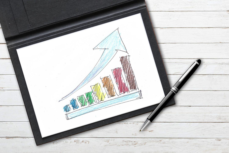 grafic desenat cu coloane si sageata ascendenta reprezentand metode de a creste profitului unui restaurant