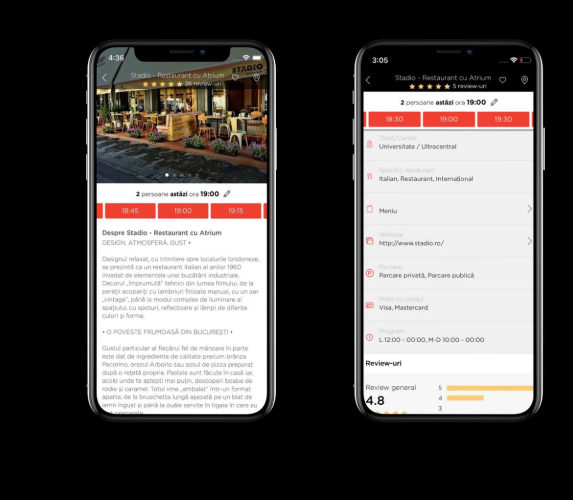 doua telefoane mobile iphone, pe ecranul carora este deschisa aplicația de rezervări la restaurante Restograf