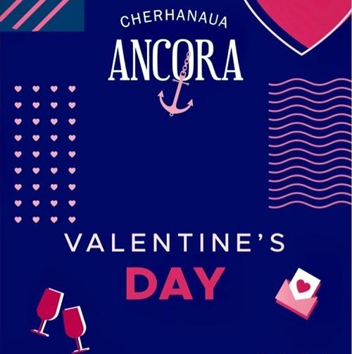 afis de valentines day de la cherhanaua ancora, cu logoul restaurantului, pahare desenate, inimioare si linii serpuite, roz si albe, pe fundal albastru