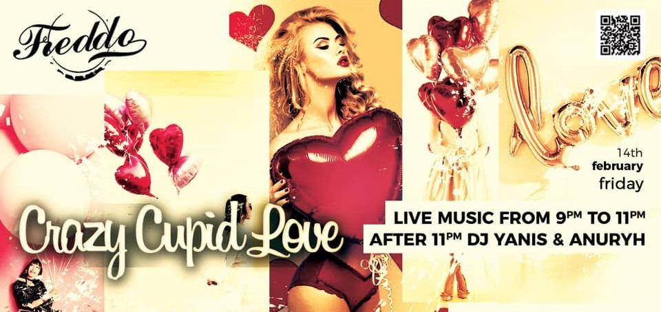 afis de la freddo bar & lounge pentru evenimente de valentines day, cu un colaj de imagini in nuante de rosu, roz si auriu, in care se vad baloane in forma de  inima si o fata blonda, cu par lung, in lenjerie sexy rosie, tinant in mana un balon mare rosu in forma de inima