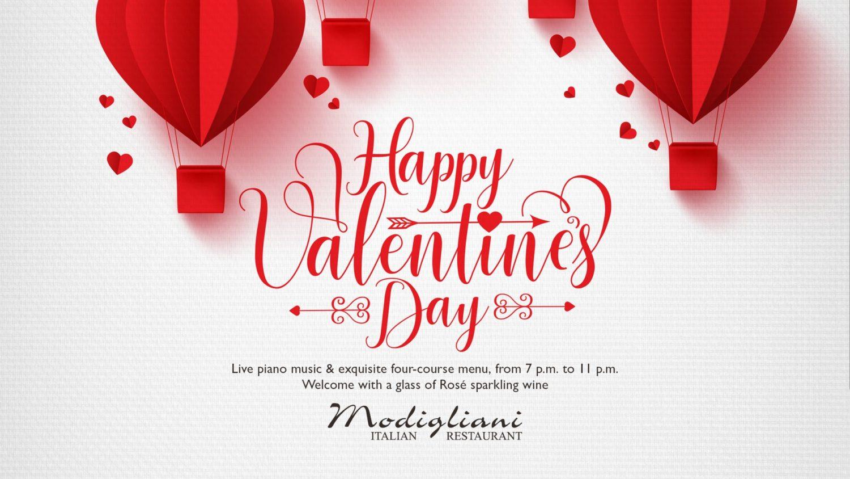 afis de valentines day de la modigliani restaurant, cu multe inimi desenate 3d, mai mici si mai mari, pe fundal alb, si detalii despre eveniment cu scris rosu