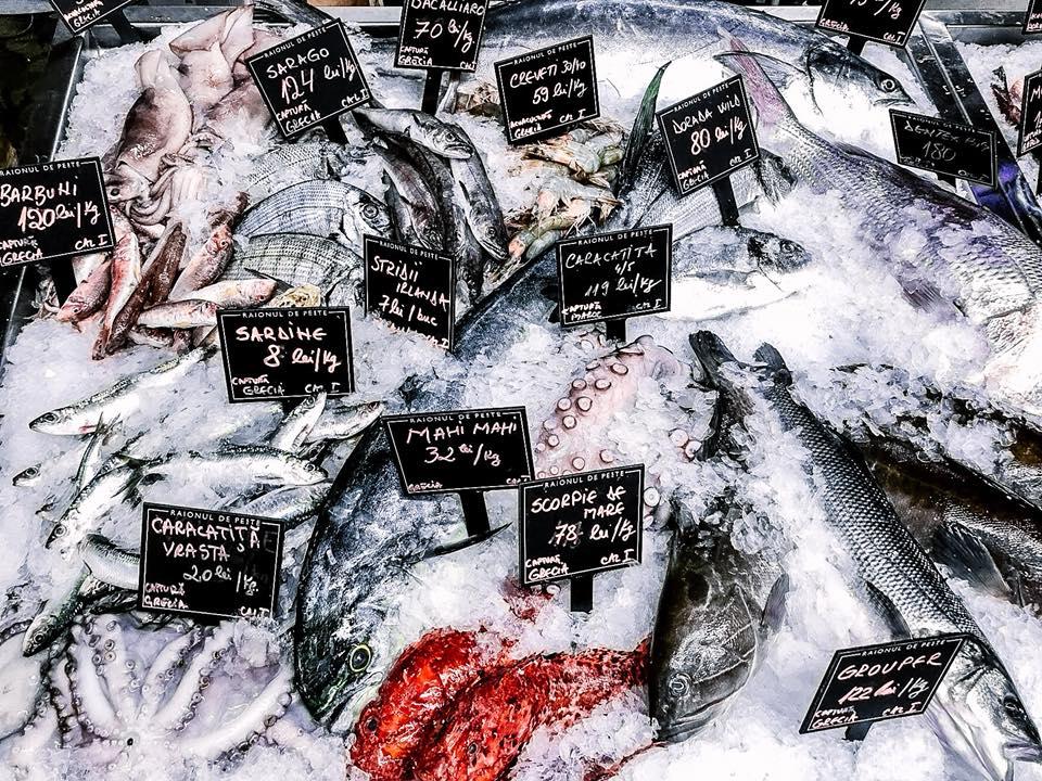 imagine din raionul de peste, prim plan cu multe feluri de peste pus la gheata, cu etichete negre scrise cu alb, raionul de peste fiind unul din restaurante pescărești București