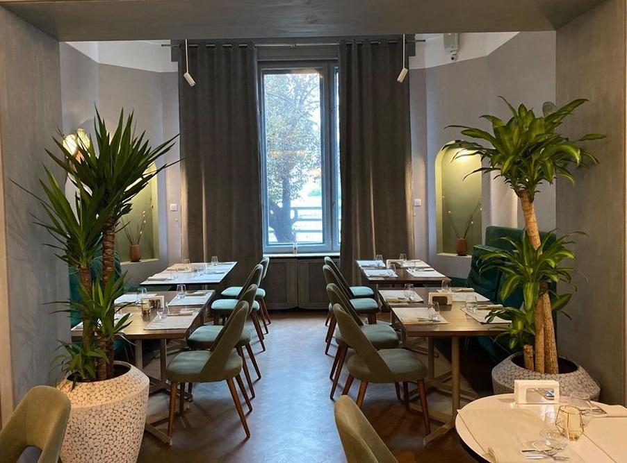 incapere din restaurantul savart, cu mese de patru persoane asezate de o parte si alta a incaperii, cu o fereastra mare in fata, pe mijloc si ghivece cu plante inalte de o parte si alta