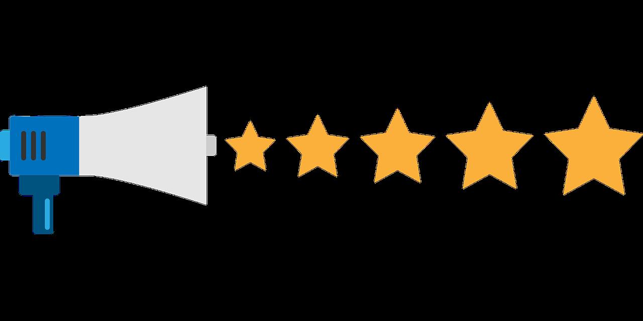 desen cu o portavoce si 5 stele galbene insiruite in dreptul ei, imagine reprezentativa pentru recenzie restaurante