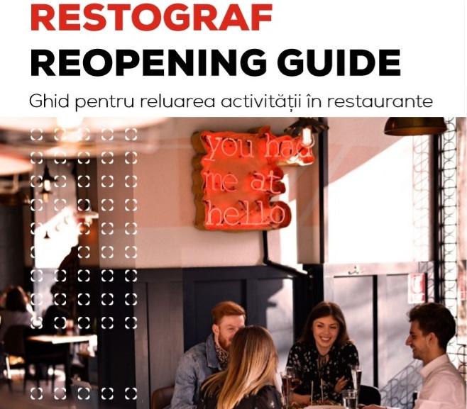 coperta Restograf Reopening Guide cu titlu si o fotografie cu oameni la masa