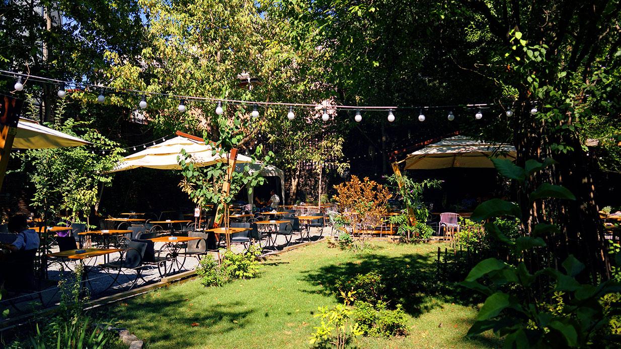 Grădina Verona din Bucuresti intr-un decor cu copaci verzi si gazon