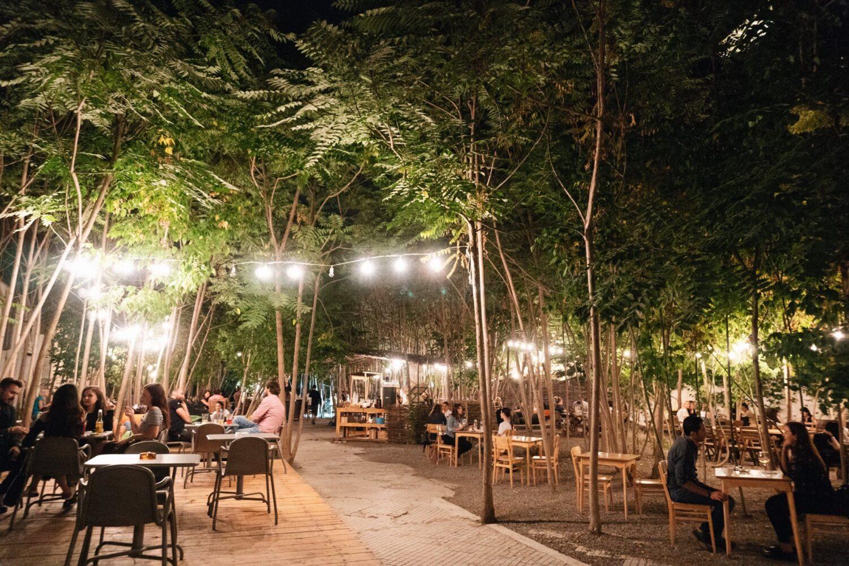 Gradina Dorobanti din Bucuresti, seara, cu mese printre copaci