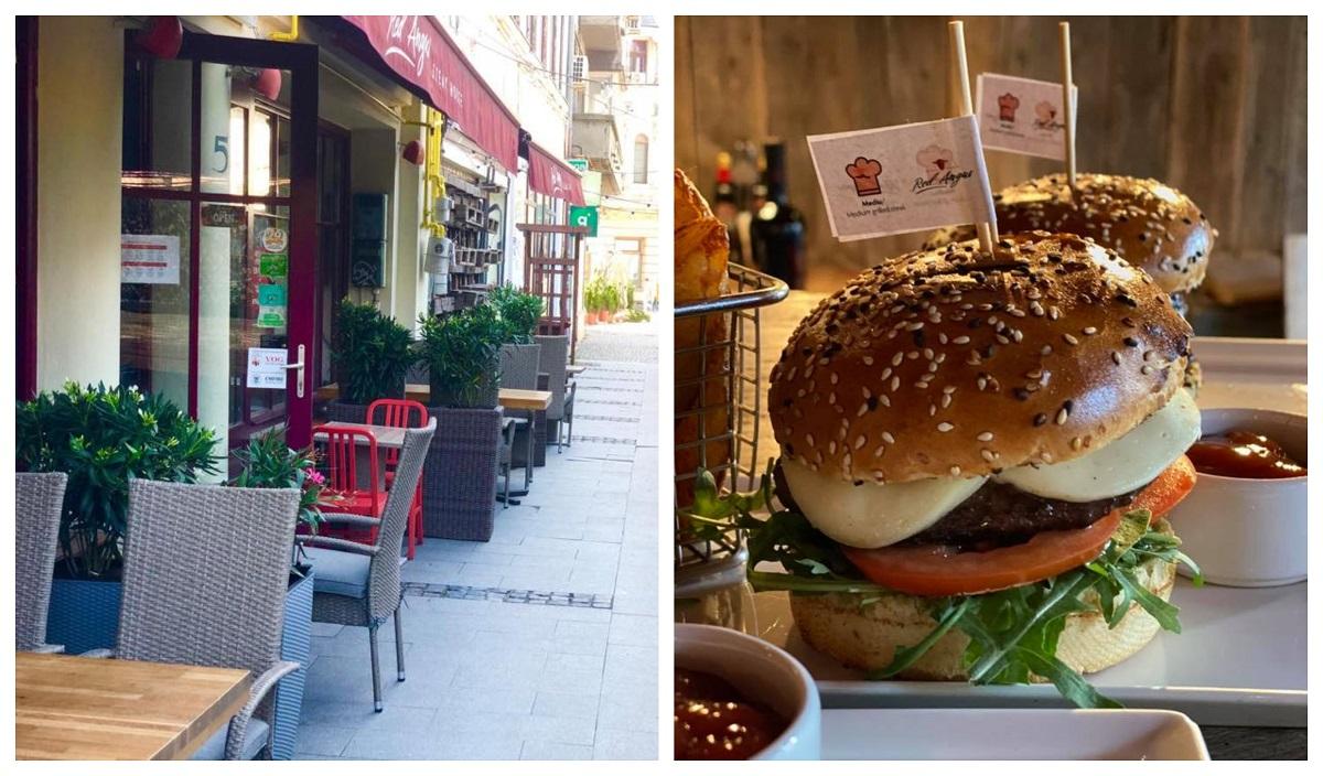 burger de la terasa red angus steakhouse, colaj foto