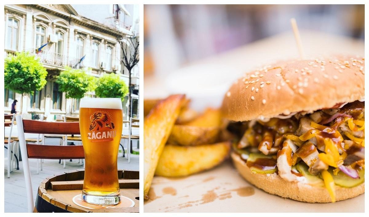 colaj foto cu prim plan de la terasa fabrica de bere buna si un pahar de bere pe masa, si un burger cu cartofi prajiti in prim plan