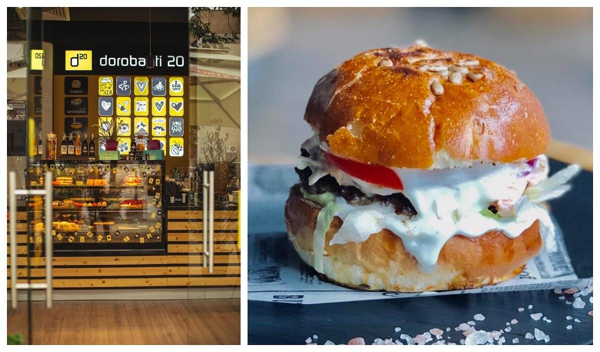colaj foto cu intrarea de la d20 urban bistro si prim plan cu un burger mare cu maioneza
