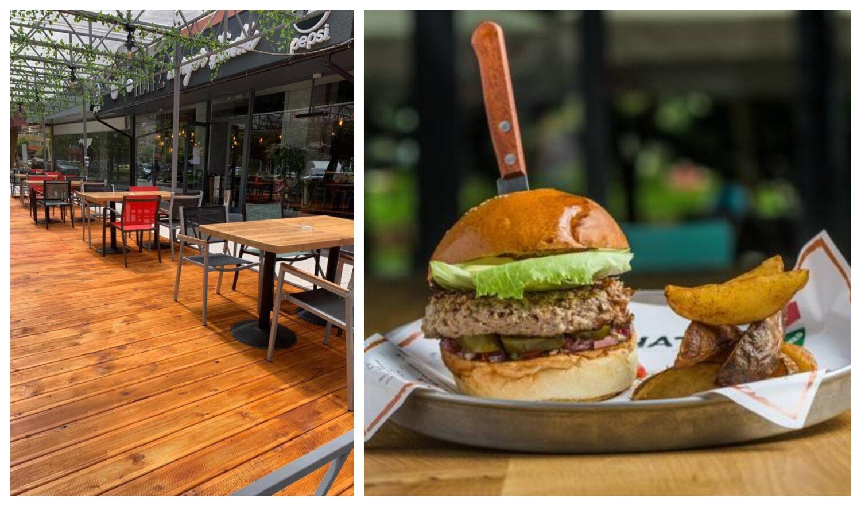 colaj foto cu terasa de la hatz burger studio cu mese asezate pe podea de lemn, distantate, si o fotografie cu un burger in care este infipt un cutit, langa el cartofi prajiti