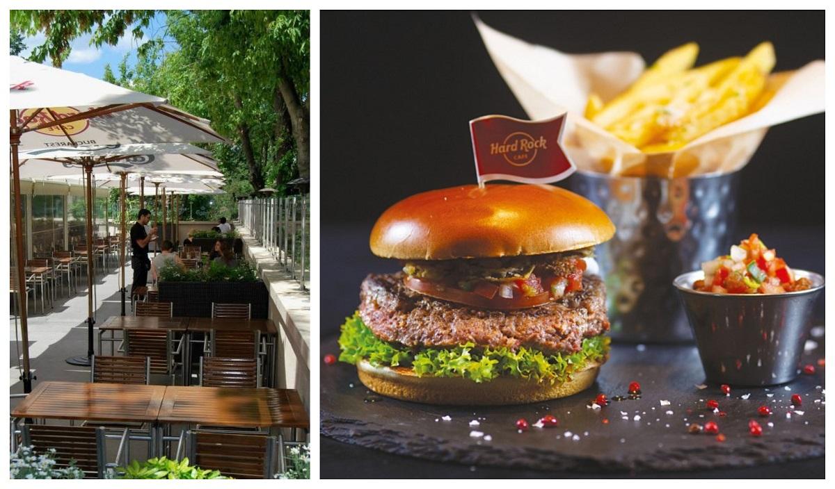 colaj foto cu un sir de mese si umbrele de la terasa hard rock cafe și un burger bun, cu o portie de cartofi prajiti și sos langa