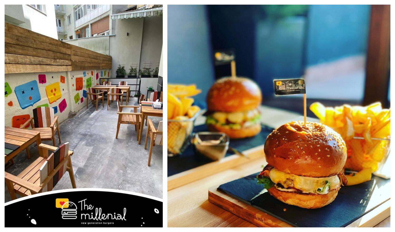 colaj foto cu terasa the millenial burger, cu un perete colorate si trei mese din lemn, si doi burgeri pe un platou de lemn, cu cartofi si stegulet infipt in chifla