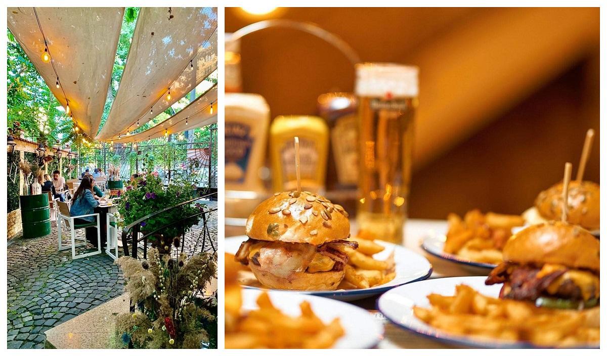 colaj foto cu terasa the temple social pub cu oameni la terasa, acoperita cu fasii de panza si o poza cu mai multe farfurii cu burgeri si halbe de bere in fundal