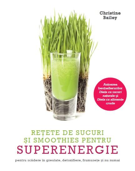 coperta cartii reéte de sucuri ;i smoothie pentru superenergie cu un pahar su suc verde si iarba in spate, pe fundal alb