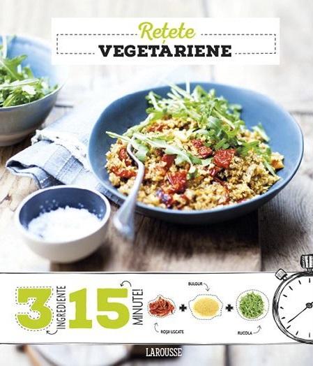 cărți de rețete vegetariene, larousse, cu un bol albastru cu salata si o lingura, si un alt bol mai mic langa