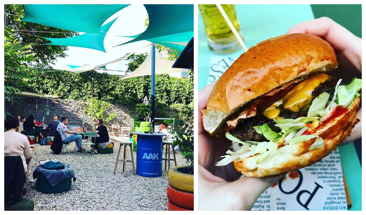 colaj foto cu terasa flip flop, cu gradina pavata cu pietre si acoperita cu panze albastre si un burger bun
