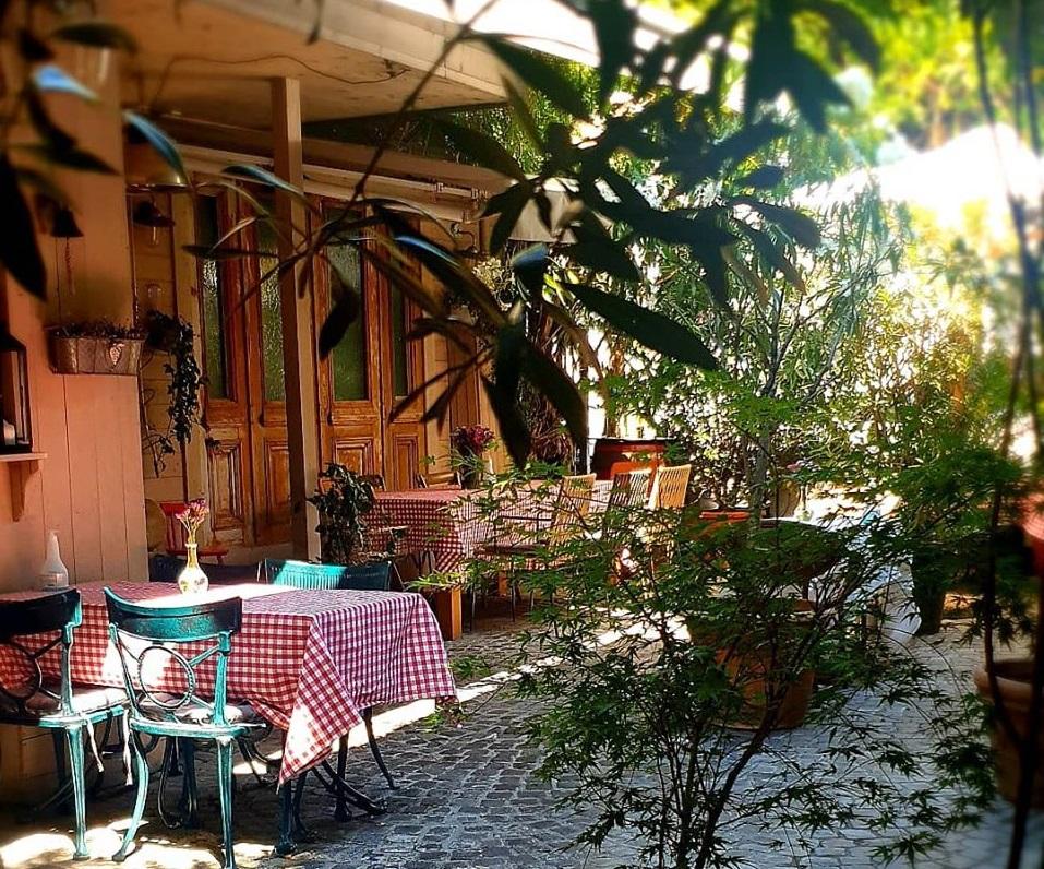 terasa restaurantului White Horse din Dorobanți, cu mese in curte, cu fete de masa cadrilate, multa verdeata si aer rustic