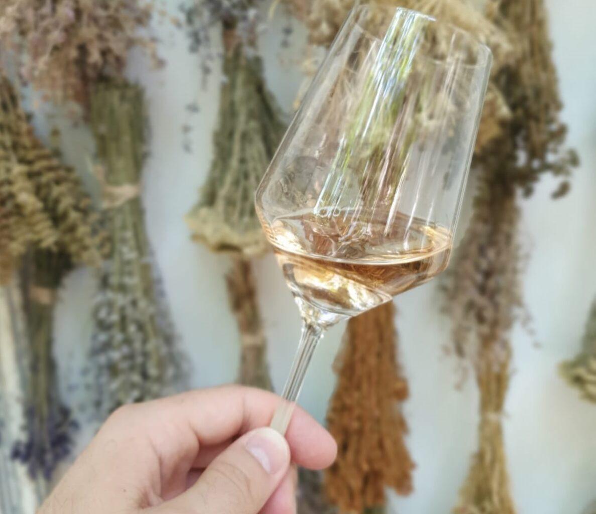 close up cu un pahar de vin alb tinut in mana inclinat, pe fundal cu ierburi aromatice, la terasă Anika Restaurant, unde bei un vin bun în București