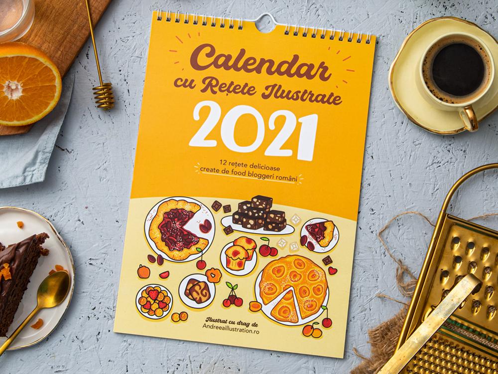 calendar cu rețete ilustrate pentru anul 2021, de la Andreea Illustration, idei de cadouri de Crăciun pentru foodie