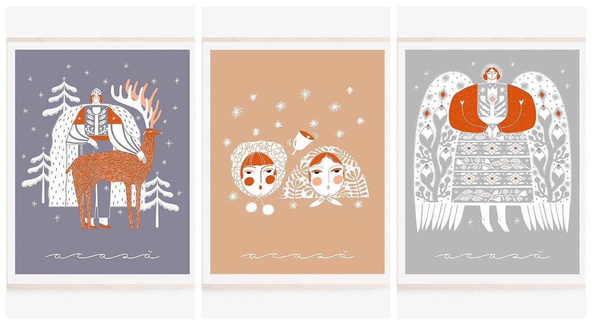 art print de madalina andronic, 3 ilustratii cu teme de craciun, in culori pastelate, in stil traditional