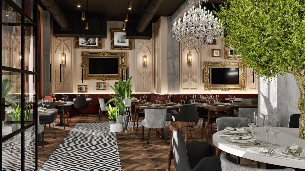 restaurant elegant Oliveto by Caelia, cu mese rotunde si candelabre mari, rame de tablouri pe pereti, imagine de ansamblu, in lumina difuza