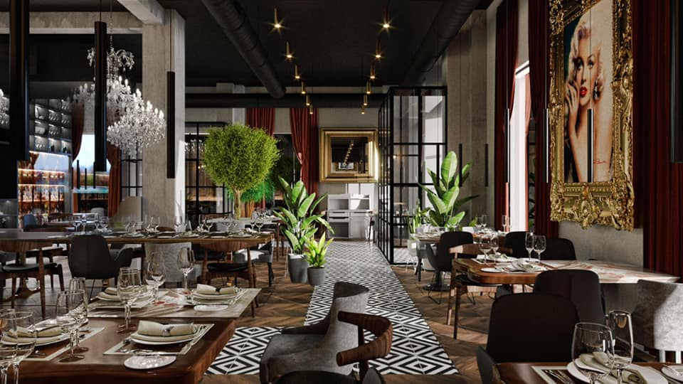 restaurant la interior, cu design elegant, in culori inchise
