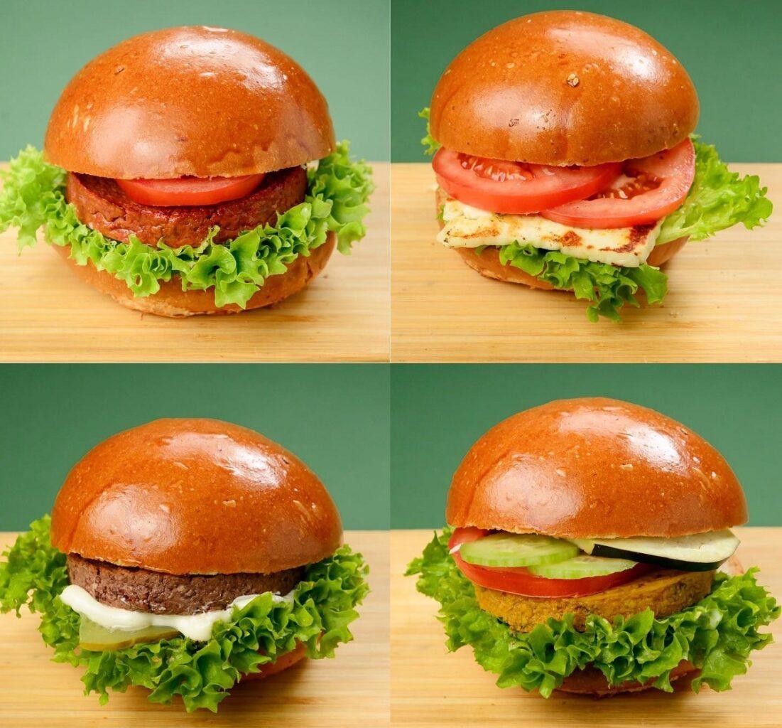 Patru burgeri vegetarieni, de post, de la Flip Flop, fotografiati pe fundal verde