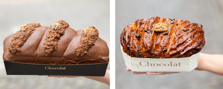 doua tipuri de cozonac de la Chocolat, unul tradițional și altul glazurat cu ciocolata belgiana